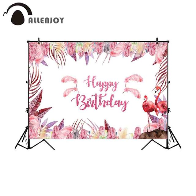 allenjoy photo background pink feathers flamingo happy birthday party sweet girl fotografia backdrop photography photocall