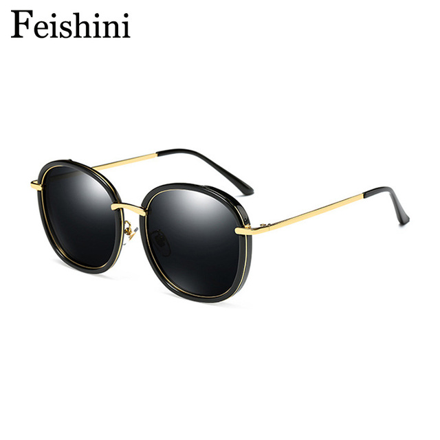 d92fca97f8 FEISHINI Original Brand Designer Pink Anti-Reflective HD UV Luxury  Oversized Polarized Sunglasses Women Oval Mirror Driving 2018