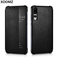XOOMZ For Huawei P20 Pro Case Cover Luxury Genuine Leather Hard Plastic Smart View Flip Phone Case for Huawei P20 Pro Smart Case