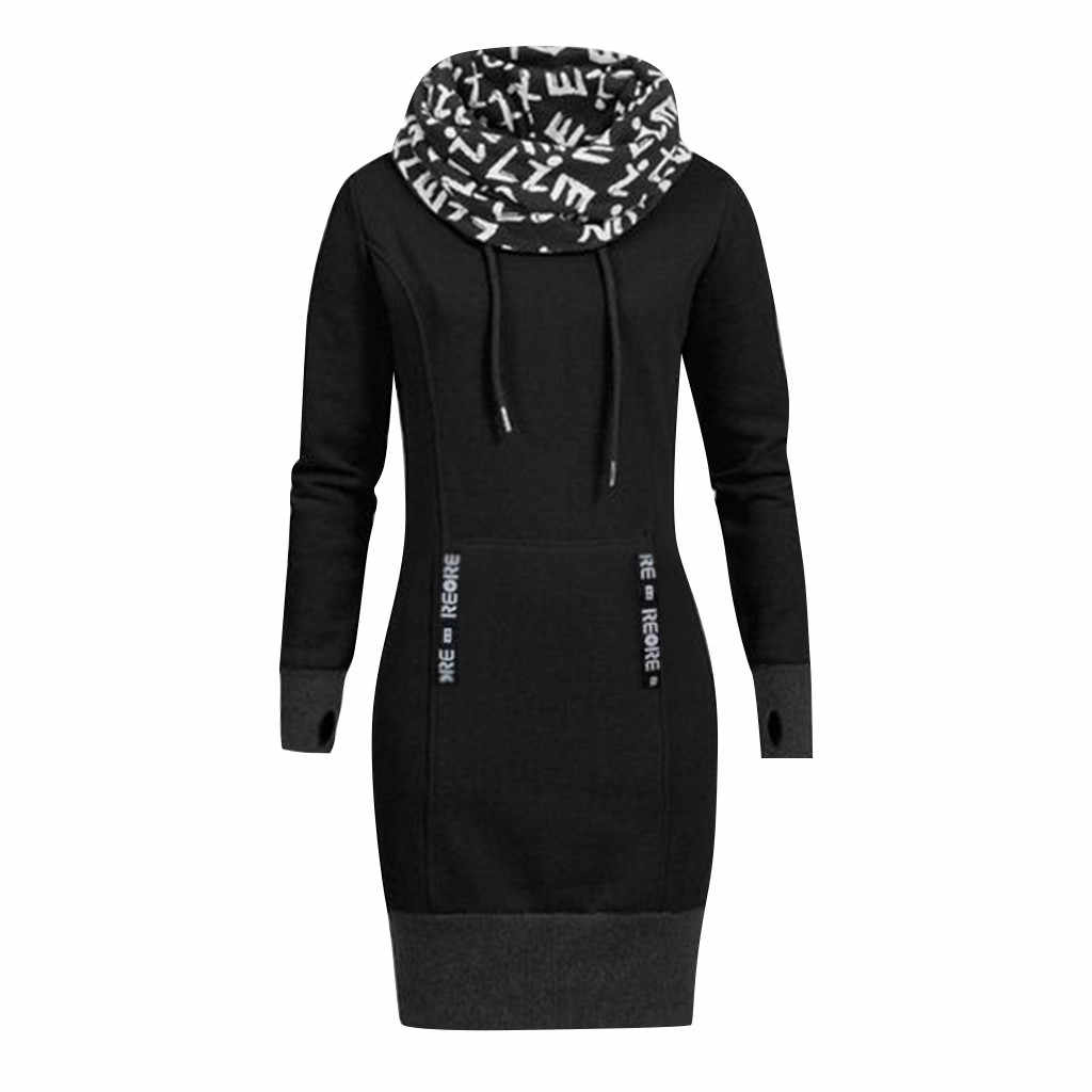 Feitong Plus Size Women Long Sleeve Dresses Ladies Letter Print Collar Turtleneck Casual Bodycon Mini Dress vestidos verano 2019