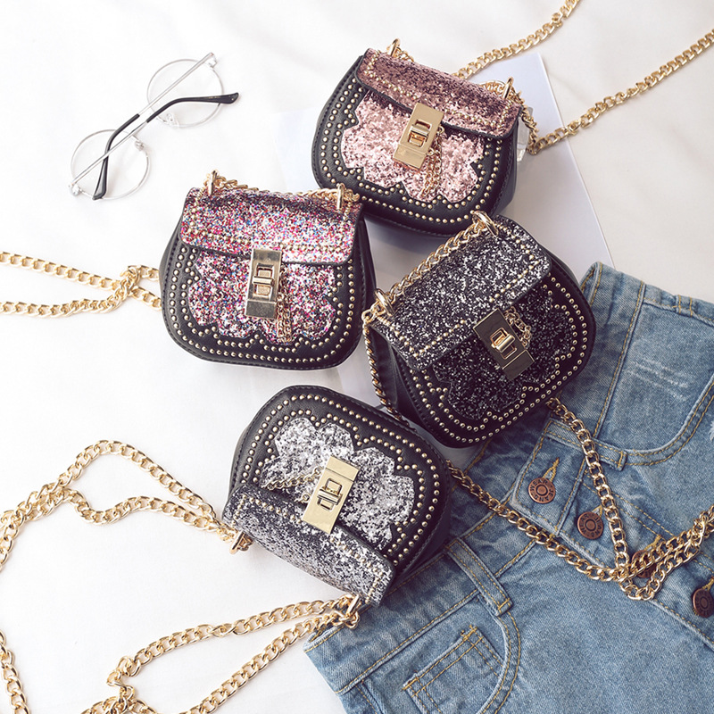 Monsisy Glitter Small Women Bag For Girl Shoulder Bag Metal Chain PU Leather Purse and Handbag For Baby Children Wallet Kid OBag thinkthendo new woven bags chain strap replacement for purse handbag shoulder bag accessories faux leather metal
