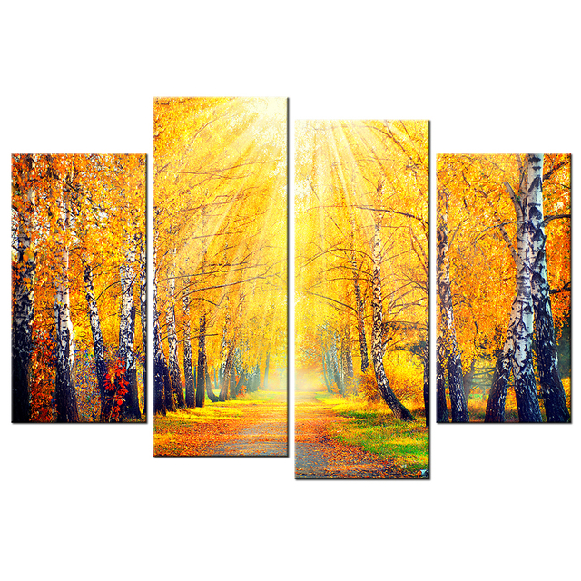 Sunrise birch tree forest canvas prints fall autumn scene yellow leaves picture landscape painting modern framed