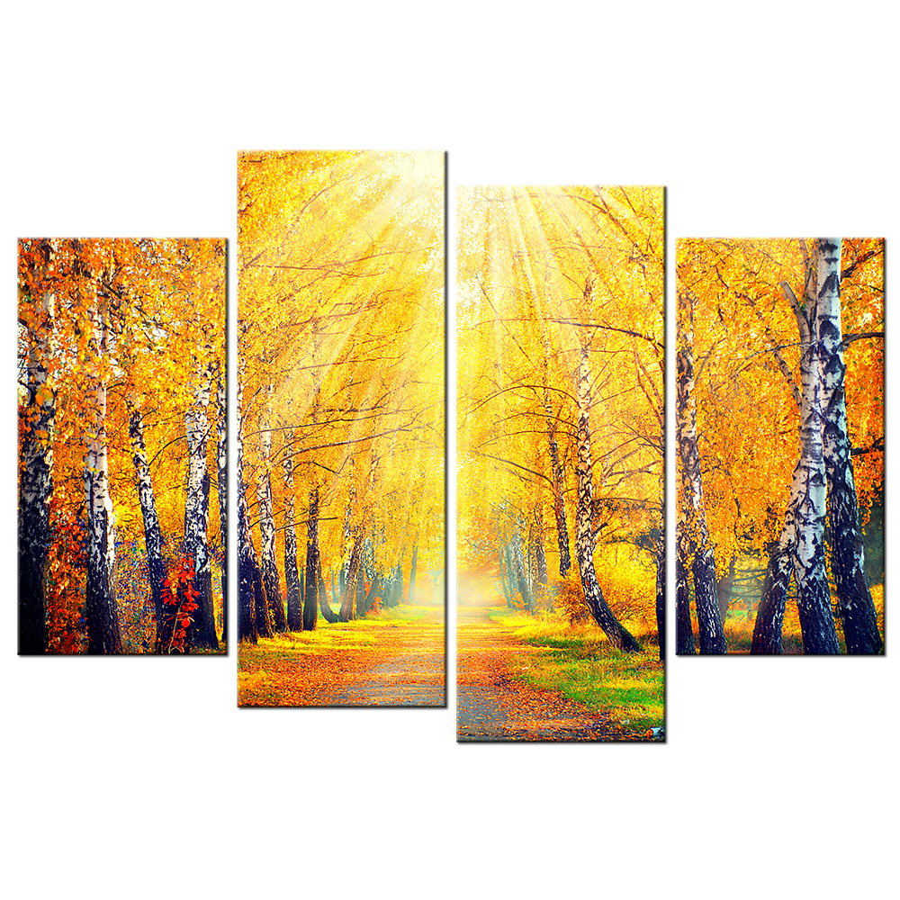 Painted Art Of A Birch Tree In Autumn