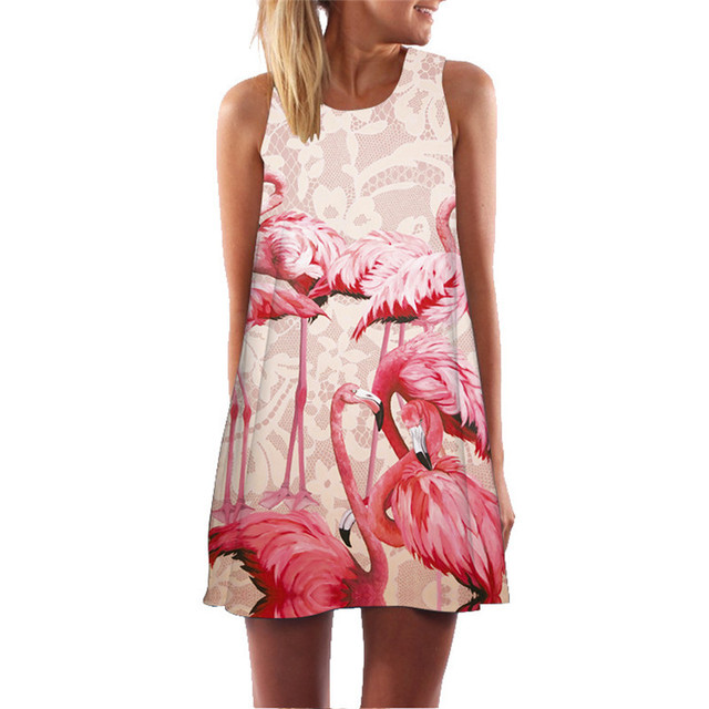 42597c1606 Floral Printed Flamingo Dress Women Feather Elegant Graceful Beach Dress  Vestidos De Fiesta Robe Femme Dress Slim Pattern