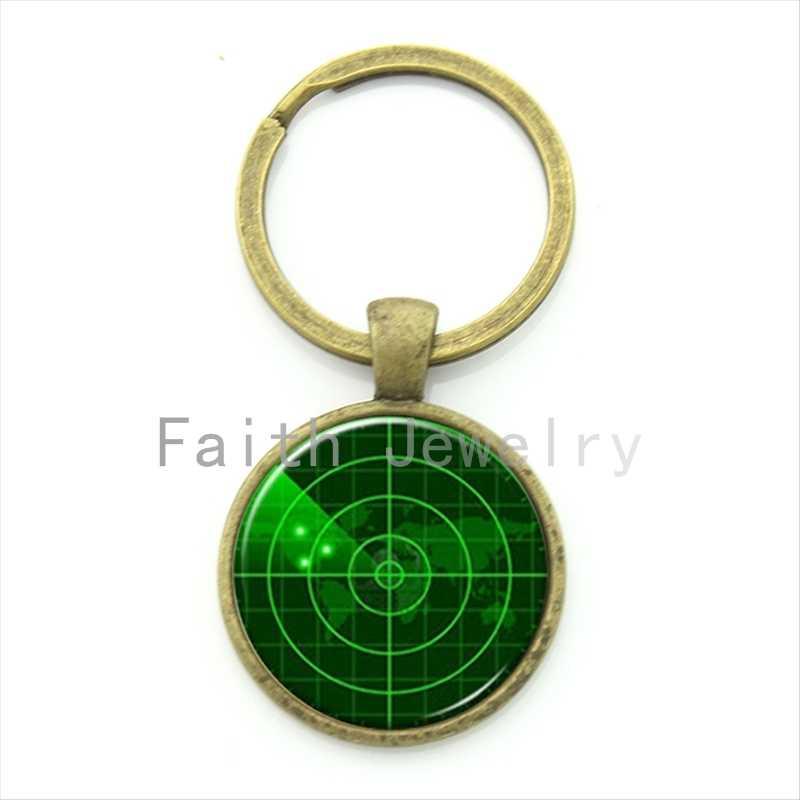 TAFREE hecho a mano a la moda pantalla de radar verde oscuro imagen llavero de radar de barco de la Marina joyería de regalo de marineros KC493