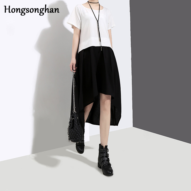 Hongsonghan European station 2018 summer extremely simple temperament fake two piece set medium length spliced A line dress