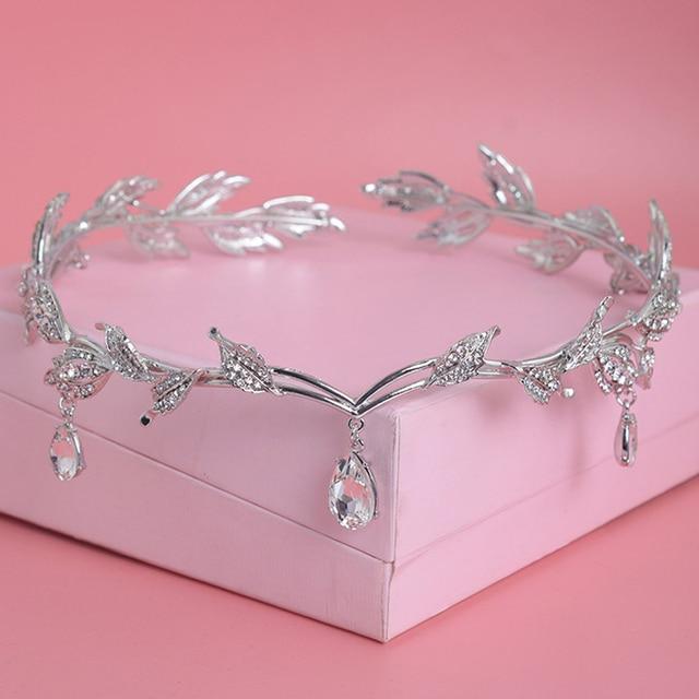 Crystal Crown Bridal Hair Accessory Wedding Rhinestone Waterdrop Leaf Tiara Crow