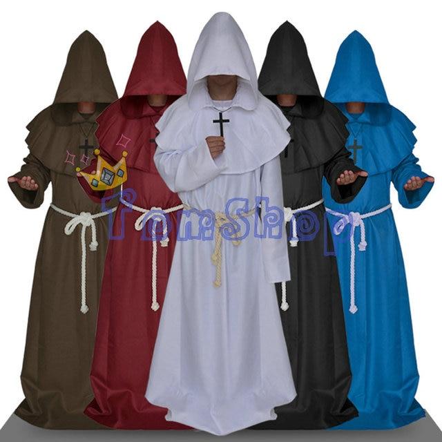 Monk Hooded Robes Cloak Cape Friar Medieval Renaissance Priest Cosplay Uniform Men Halloween Costumes