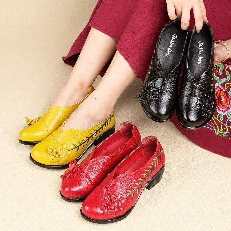Cuir Fine Chinois Oukahui 5 Folk Style yellow À 2019 Véritable Black 1270 Cm Dames Hauts red Nouveau 1270 Talons 1270 Printemps Vintage Femmes Pompes En Broderie Chaussures 8qtwprqT