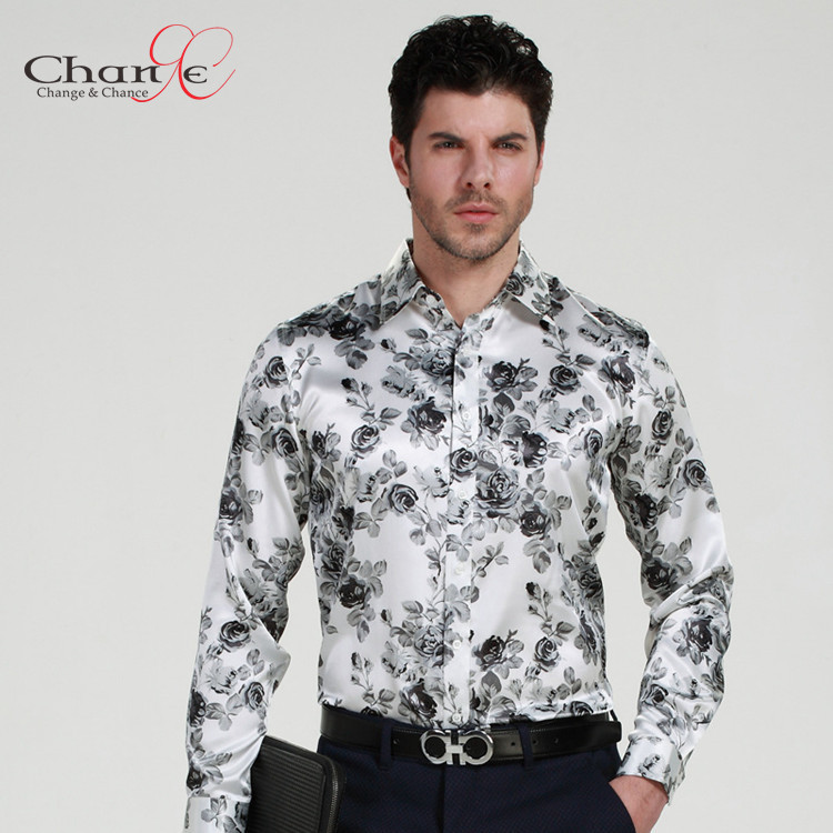 Quality Men Designer Shirts Satin Silk Men Printed Shirt Camisa ...