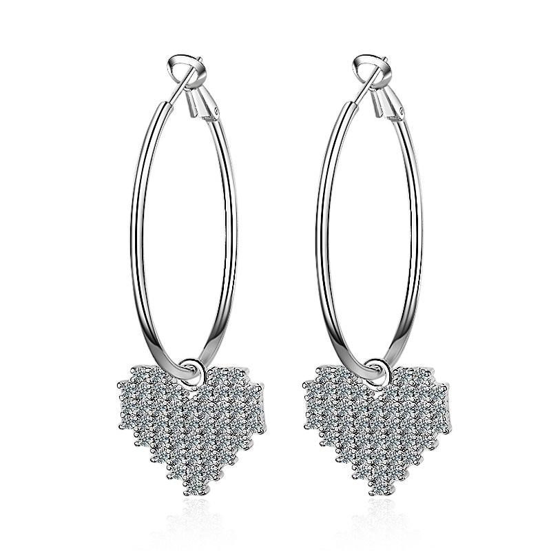 Luxury Crystal Heart 925 Sterling Silver Jewelry Cubic Zirconia Stone Drop Earrings Fashion Women Favourites EH051