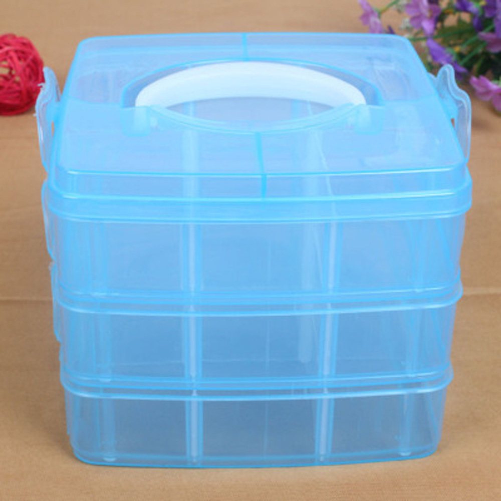 3-Layer 18 Compartment Plastic Clear Nail Art Gel Polish Remover Cleaning Cotton Pad Swab Container Organizer Holder Storage Box