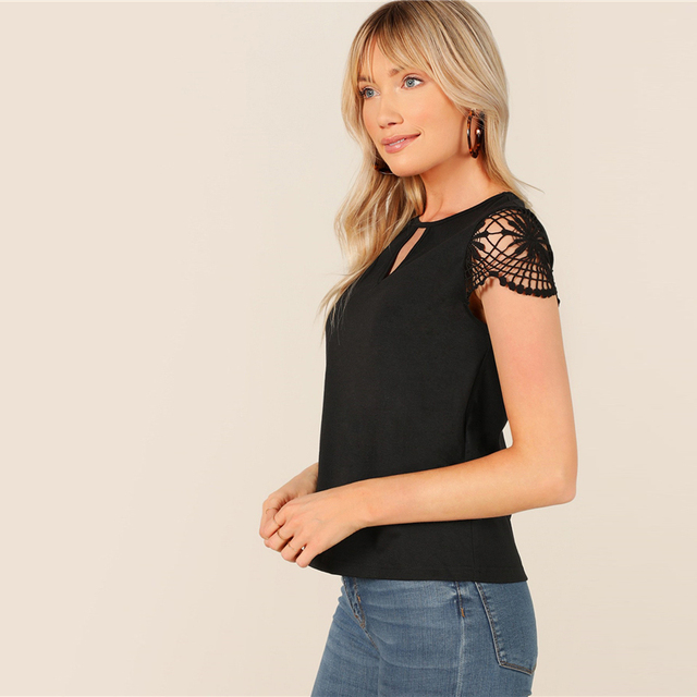Cut Out Front Guipure Lace Short Sleeve Summer Top 4