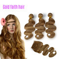 Grade 7A Hot Sale Brazilian Virgin Hair Body Wave Wavy #27 Honey Blonde Three Bundles With Silk Lace Closure