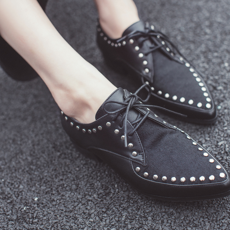 ФОТО Spring/Autumn Rivet Women Loafers Handmade Shoes Exquisite Sandals Woman Suede And Leather Oxford Flats Causal Shoes Woman