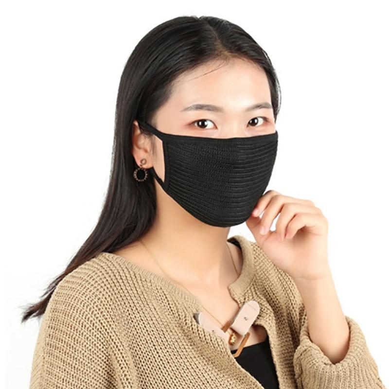 Unisex Black Cotton Anti-dust Mask Motorcycle Outdoor Windproof Warm Mask