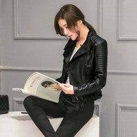 Motorcycle Leather Women's Short Section Locomotive Stand Collar Leather Jacket Gothic Pu Leather Jacket Punk Women Coat 2018