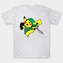 2017 Latest Pokemon Go Zelda Print T Shirt Short Sleeve Game The Legend of Zelda Pikachu Design T-Shirt Hip Hop Tops Brand Tees