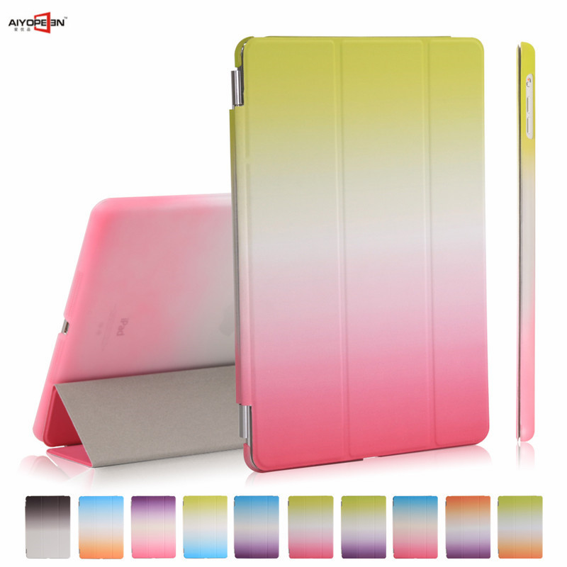 for new ipad 9.7 2017 2018 case,3-fold pu leather smart wake up sleep with pc back cover rainbow gradient magnetic flip stand ...