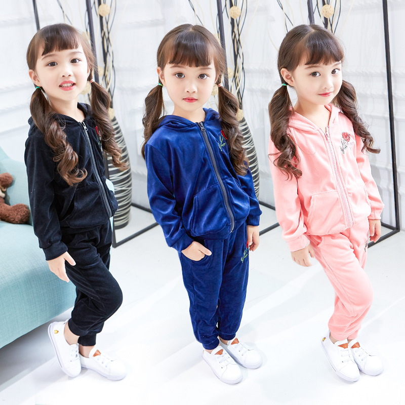 2017 Cotton Baby Girls Clothing Sets Autumn Fashion Children Tracksuits Zipper Hooded Coat + Pants Kids Sports Suit 3-8years teenage girls clothes sets camouflage kids suit fashion costume boys clothing set tracksuits for girl 6 12 years coat pants