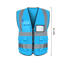 Reflective vest site construction person safety warning clothes construction traffic fluorescent multi-pocket vest цена