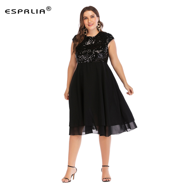 082b074920640 ESPRLIA Womens Plus Size Sequin Short Cap-Sleeve Holiday Party Homecoming  Midi Black Dress 3XL 4XL 5xl
