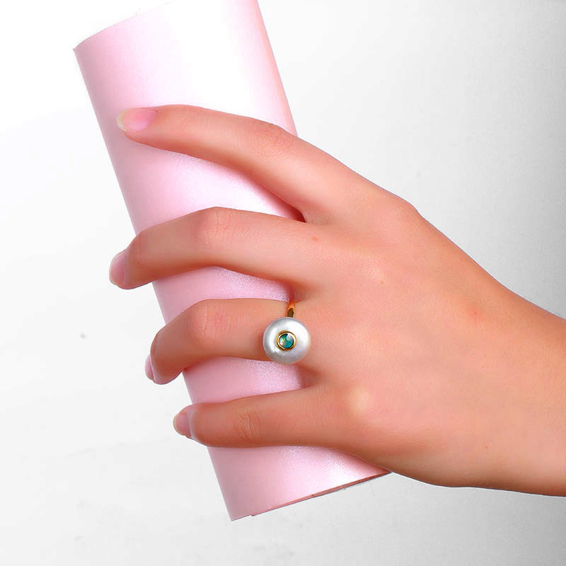 Hongye isti 100% təbii inci üzüklər 925 sterlinq-gümüşdən - Gözəl zərgərlik - Fotoqrafiya 5