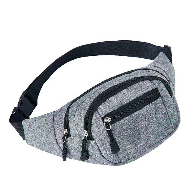 Unisex Casual Fashion Solid Color Waist bags Multi-function Fanny Pack with Zipper for Women Travelling High-capacity
