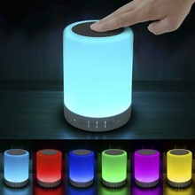 Night Light with Bluetooth Speaker, Portable Wireless Bluetooth Speaker Touch Control Color LED Bedside Table Lamp USB Sensor цена и фото