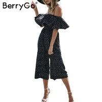 BerryGo Off Shoulder Ruffle Dot Long Jumpsuit Romper Women Loose Chiffon Summer Beach Playsuit Casual High