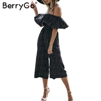 BerryGo Off Shoulder Ruffle Dot Long Jumpsuit Romper Women Loose Chiffon Summer Beach Playsuit Casual High