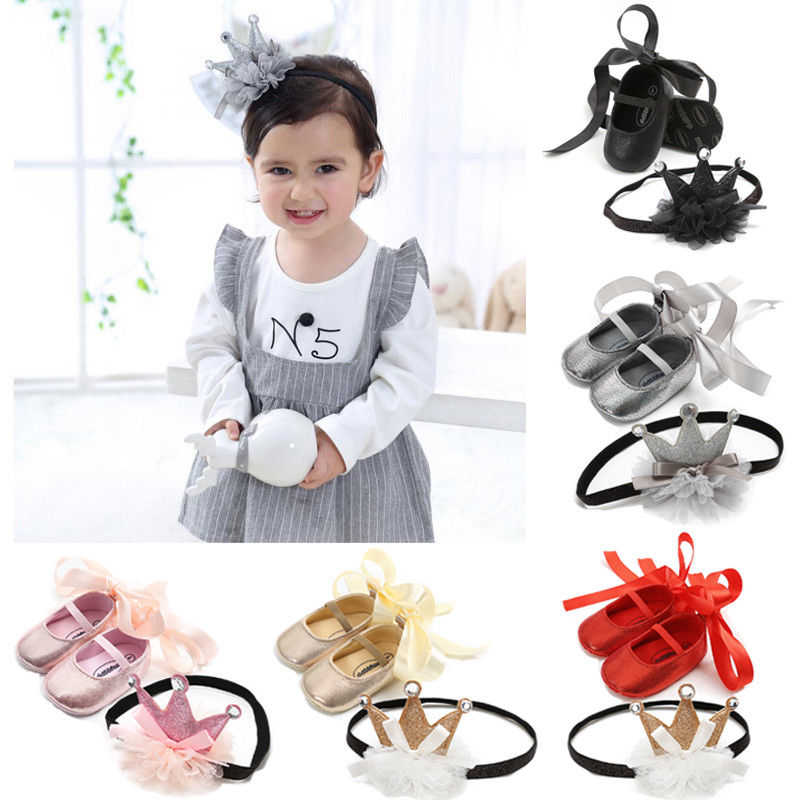 2Pcs Princess Shoes+Headband New Cute Newborn Baby Girl Ribbon Crib Shoes Toddler Baby Girl Lace Bow Crown Headband Accessories