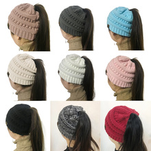 191cbaee393 BONJEAN women warm hat CC Warm winter knitted Chunky Soft Slouchy Beanie  High bun Ponytail Stretchy ...