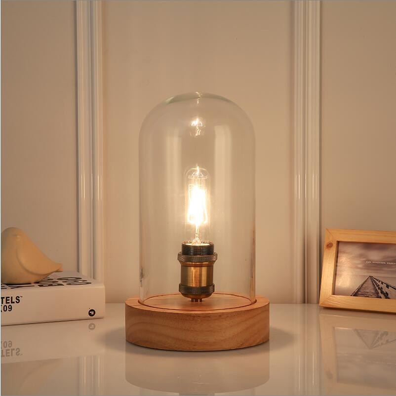 Vintage bois verre Table lumières lampe bois personnalisé lampe de bureau avec abat-jour en verre à côté de la maison chambre salon veilleuses