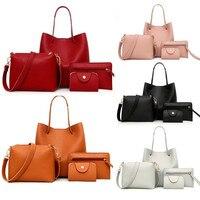 4 шт. в комплекте, женская кожаная сумка с узором, сумка через плечо, сумка-мессенджер, сумка для карт, кошелек, Mujer Torebka Damska Bolsa Feminina