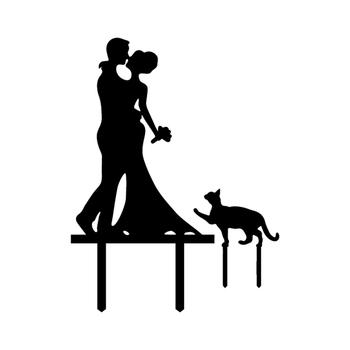 Wiele kolorów akrylowy tort weselny flaga Topper pan i pani z kotem chorągiewki na tort s na wesele przyjęcie rocznicowe ciasto dekoracje do pieczenia tanie i dobre opinie FGHGF Akrylowe Panna młoda i Pan Młody Cartoon zwierząt Ślub Ślub i Zaręczyny Party Rocznica Walentynki