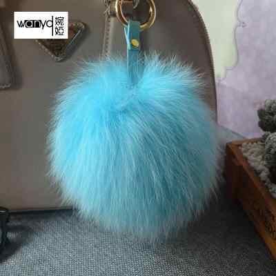 באיכות גבוהה גדול 15 cm פו באני ארנב שועל צבעוני פרווה פומפונים כדור Keychain מפתח מחזיק שרשרת נשים תיק תכשיטים קסם תליון