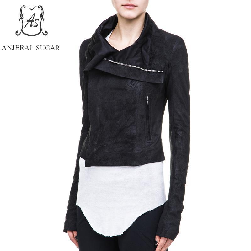Veste Moto Mouton Peau Automne Véritable Nouveau Femmes Cuir Conception Court 2017 Printemps En Zipper Femme De Noir Vêtements xF8aYpa