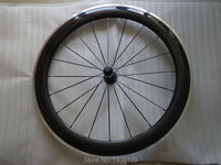 1pcs New 700C 60mm clincher rim Road Track Fixed Gear bike carbon bicycle wheelset with alloy brake surface aero spoke Free ship