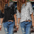 Ladies Off-shoulder Sexy Slim Loose Shirt Top Glistening Sequin T-shirt Tshirts Tees Boutique