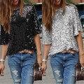 Senhoras Off-ombro Sexy Magro Solto Camisa Top Brilhando Sequin T-shirt Tshirts T-shirt Boutique