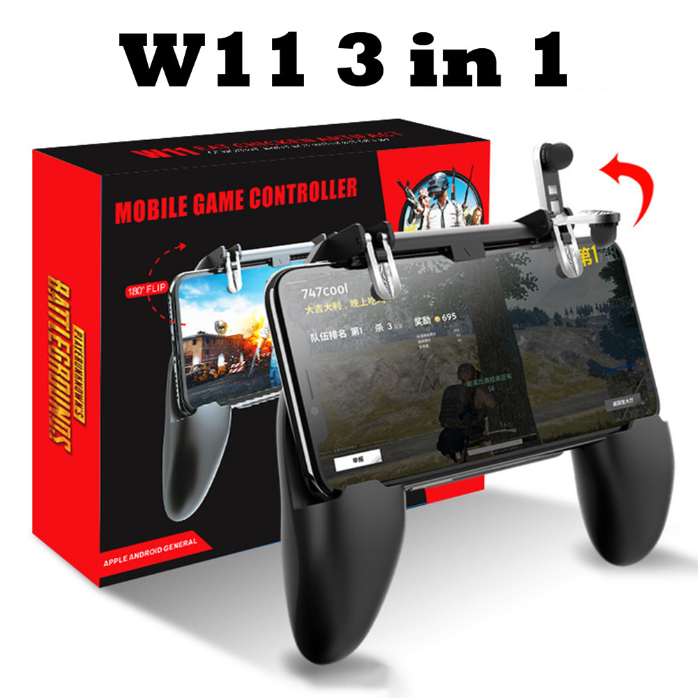 W11 Wireless Controller Stand 3in1 Gamepad for Android IOS Phone PUBG Mobile Gamepad Joystick Metal L1 R1 Trigger Gaming Gamepad