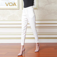 VOA Women Summer Pants Fashion White Silk Slim Pants Office Ladies Pencil Trousers Female Solid Casual Harem Pants K8535