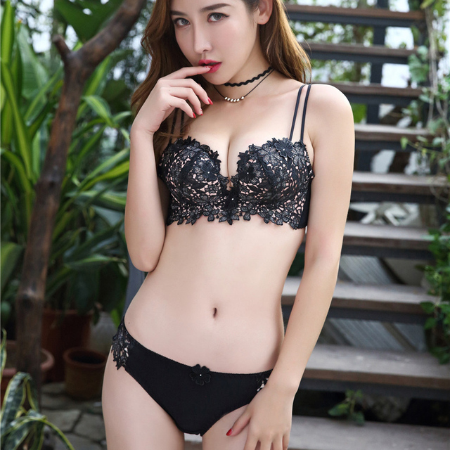 6d4ee643e Comfortable cotton cup women wireless bralette push up sexy underwear suits  floral embroidery young girls lingerie small bra set