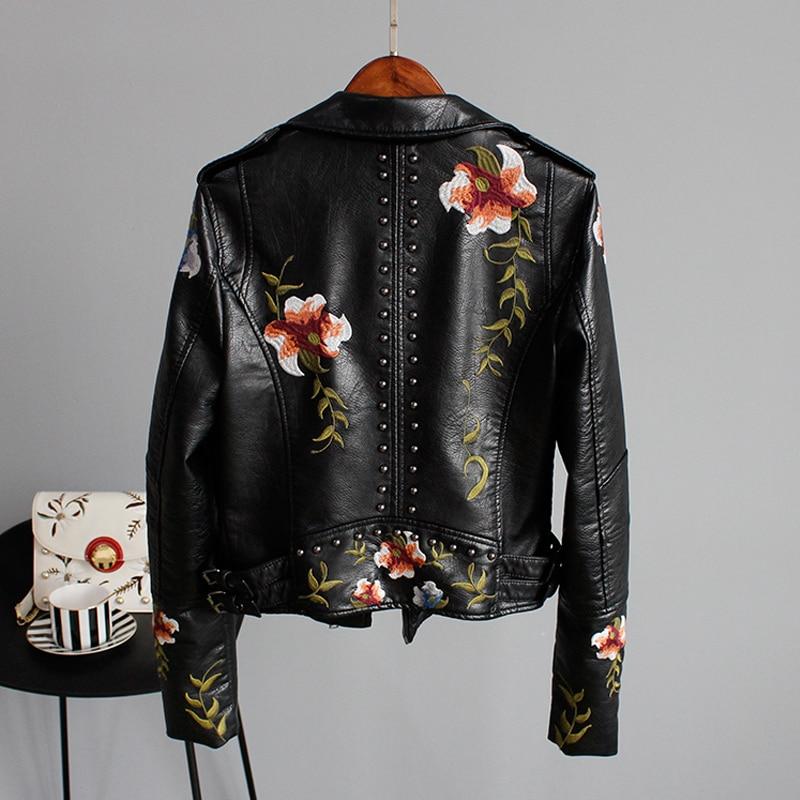 Ly Varey Lin Floral Print Embroidery Faux Soft Leather Jacket Women Pu Motorcycle Coat Female Black Punk Zipper Rivet Outerwear