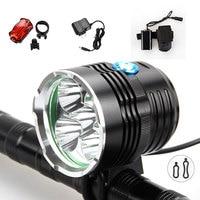 9000Lumen 5x XML T6 LED Head Front Bicycle Bike Light Led Cycle Lamp Headlamp 8.4V 20000mAh Battery pack Rearlight