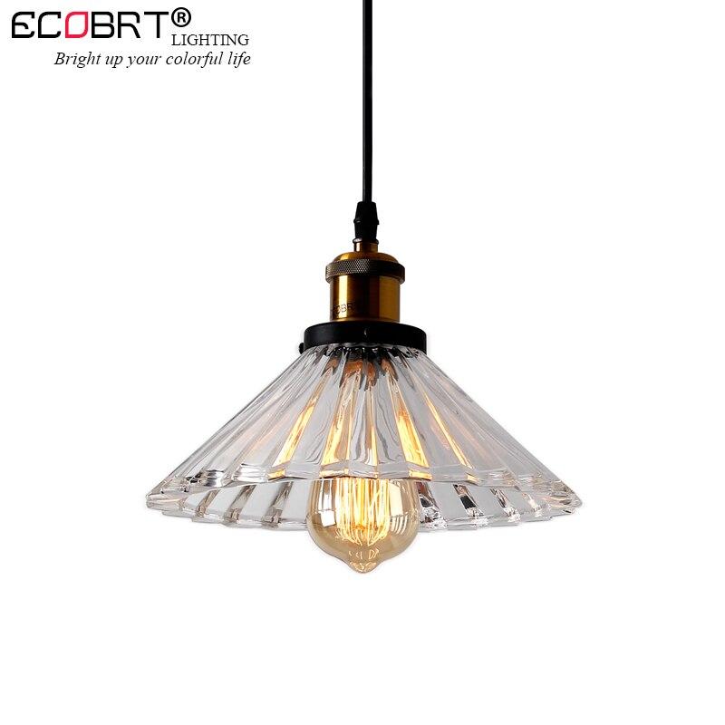 цена на ECOBRT 1-Head Vintage Pendant Lights Clear Glass Lampshade Loft Pendant Lamps E27 for Dinning Room Home Decoration Lighting