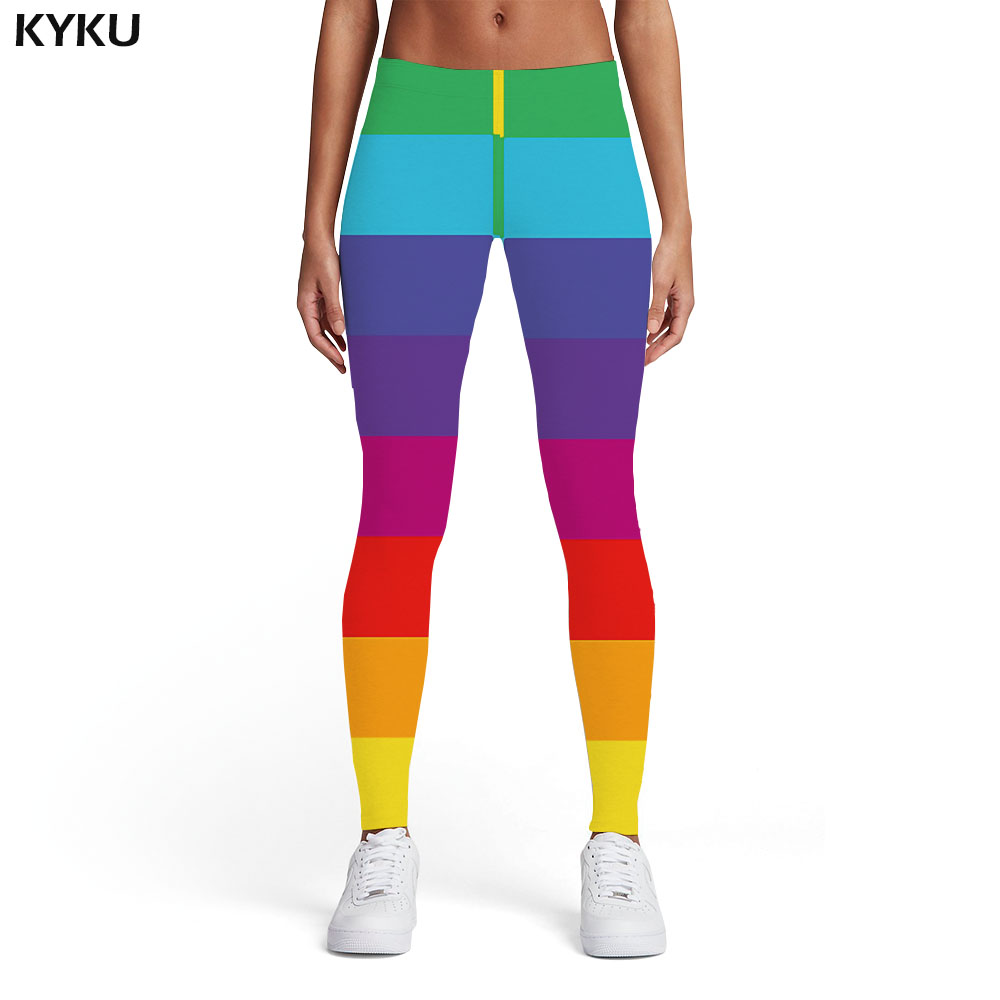 KYKU Brand Rainbow Leggings Women Gay Trousers Colorful Sport Harajuku Printed Pants Gothic Elastic Womens Leggings Pants
