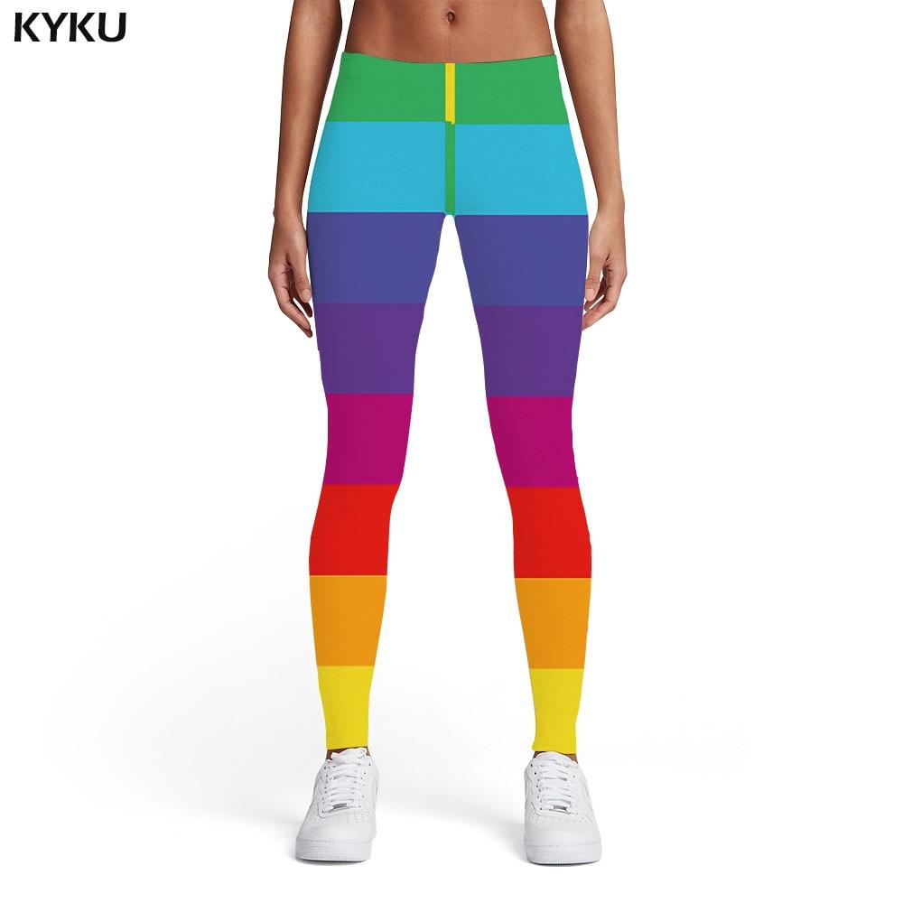 KYKU Brand Rainbow Leggings Women Gay Trousers Colorful Sport Harajuku Printed Pants Gothic Elastic Womens Leggings Pants