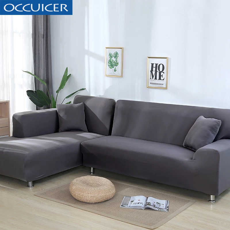 2 Pcs l Shaped Sofa Cover Corner Couch Slipcover Stretch ...